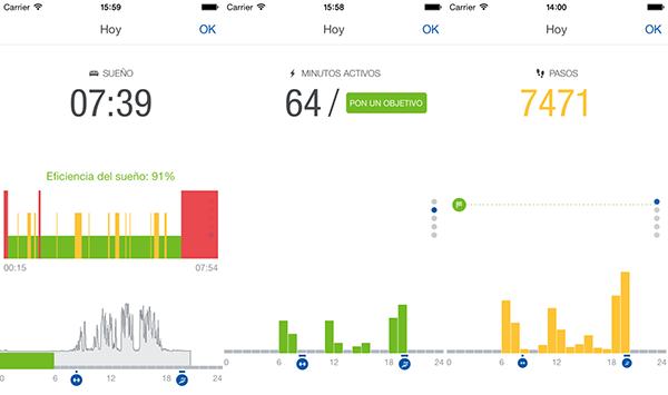 Algunas pantallas que se pueden ver en la 'app' para dispositivos móviles.